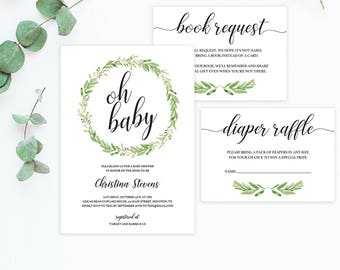 Botanical Baby Shower Invitation Set Printable Invitation Templates for Baby Shower Package Green Baby Book Request Card Diaper Raffle Cards
