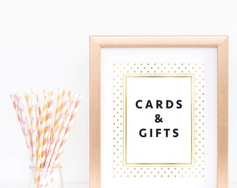 Cards and Gifts Sign Gold Baby Shower Signs Gold Confetti Wedding Reception Decor Bridal Shower Table Sign Cards Digital Download PDF GD1