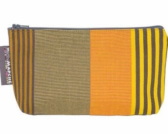 French striped cosmetic bag - make up bag - pencil case