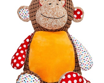 Personalized Baby Cubbies, Custom Embroidered Harlequin Monkey Stuffed Animal for Kids