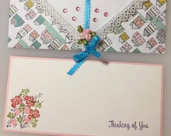 Thinking of You handmade card and matching envelope