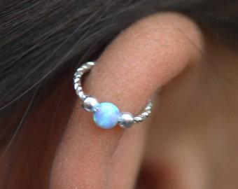 Beaded  Hoop Earring,Helix hoop,Cartilage piercing,Helix jewelry,opal Helix jewelry,Tiny helix,piercing hoop