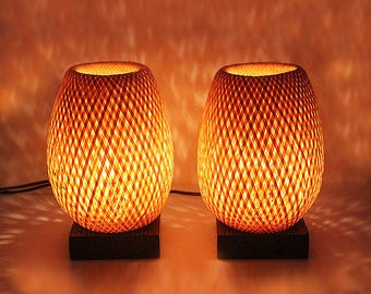 Pair of lamps in braided bamboo. H23 x 15 cm cm & dimmer