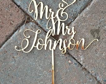 MR MRS WEDDING Cake Topper Customized Wedding Cake Topper, Personalized Cake Topper for Wedding, Custom Personalized Wedding Cake Topper