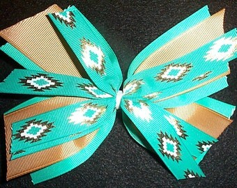 Green and Gold Multi Layer Aztec Print Hair Bow with alligator Clip
