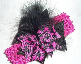 Pink and Black Head Band with feathers