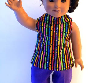 Adorable multi-colored stripe top with purple pants.  Made to fit the American Girl Doll.  All items are handmade with love.