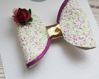 Large glitter bow. Hair accessory. Girls. christmas. birthday. gift. Stocking filler. Hair bow. Hair clip. Purple.white.green. gold.