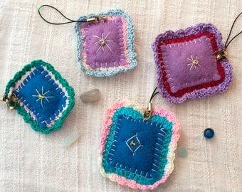 Fabric bag charm Antistress Keychain Pillow boho bag charm zipper pull cute purse charm purple blue felt charm christmas ornaments gift idea