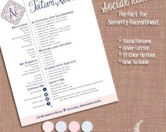 social resume cover letter templates sorority recruitment resume template ms word - Sorority Recruitment Resume Template