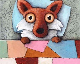 fox in bed- fox art- Modern art- Ivan Glock- 50x70cm