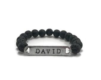 Boys Name Bracelet, Boys Bracelet Personalized, Boys Diffuser Bracelet, Lava Bracelet Kids, Boys Initial Jewelry, Boys Lava Bracelet