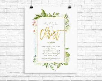 2018 LDS Youth Theme - Peace In Christ D&C 19:23 - Instant Download - 16x20 Poster