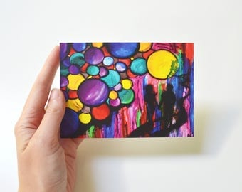 Handmade art card space art print oil painting print gift for loved one original purple print original illustration card blank postcard