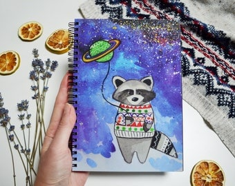 Art journal Animal  book Color planner Spiral notebook Original gift for friend Black sketchbook Blue notepad Cute raccoon Space pad