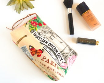 Floral Makeup Bag, Paris Floral Cosmetic Bag, Floral Makeup Pouch, Zippered Toiletries Pouch, Bridesmaid Gift, Gift for Her, Gift for Mum,