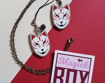 Wooden Kitsune Fox Mask * Necklace or Phone Charm