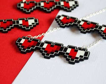 8-Bit Gaming Hearts * Retro Necklace * Zelda Mario