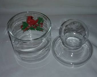 Vintage clear glass cardinal candy jar,Cardinal jar,red bird jar, cardinal glass jar with lid,Glass jar with lid