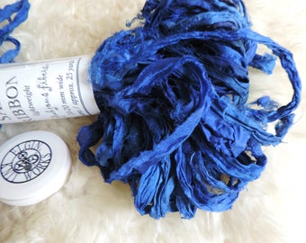"Sari Ribbon, ""Sapphire Blue"" by Frabjous Fibers, 25 Yards, 10 to 20 mm Wide, Hand Cut Silk Ribbon"