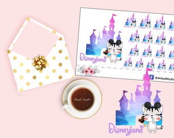 Disney Planner Stickers, Kawaii Cat Stickers, Let's Go To Disneyland Sticker, Cute Kawaii Sticker, Watercolor Planning Planner Sticker