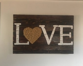 Love Sign with burlap roses