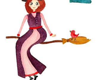 Watercolor Good Witch on a Broom