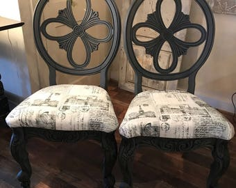 Pair of Shabby Chic Dark Gray Chairs Painted with Black Wax - Seats covered in French fabric