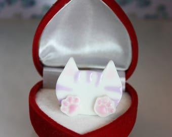 Cat Ring S - White Stripped
