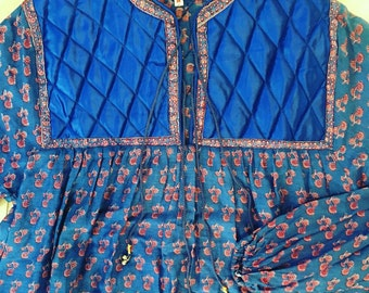 Vintage 70's Indian cotton block print dress with quilted detail