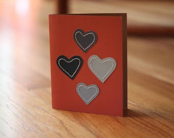 Stitched Hearts Blank Greeting Card and Envelope - Free Shipping