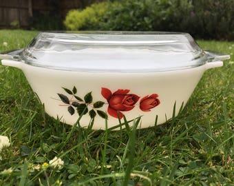 Vintage JAJ pyrex casserole dish June Rose #509 with lid
