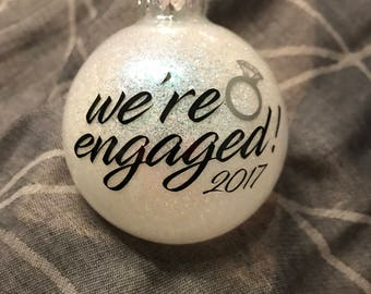 We're Engaged Ornament, Wedding Ornament, Engagement, Engagement Ornament, Custom Ornaments, Glitter Ornaments, Engagement Gift, Ornament