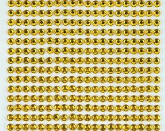3 Sheets - Yellow 4mm Adhesive Rhinestone Dot Sticker