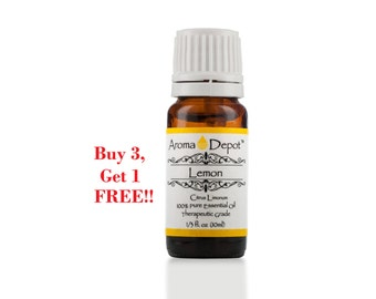Lemon Essential Oil 100% Pure, Undiluted, Therapeutic Grade. Buy 3, Get 1 FREE!!!