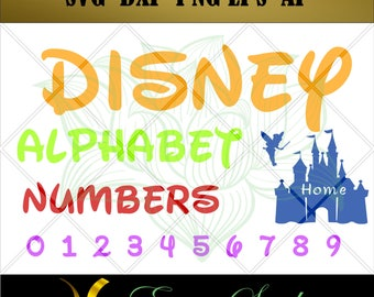 Disney Alphabet svg, Letters And Numbers svg,Font svg, Cricut Downloads, Design Studio, Cricut fonts, Cricut svg, Cricut files