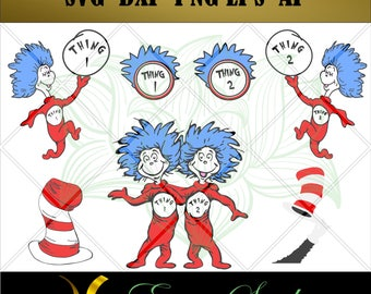 Dr Seuss svg, Thing 1 svg,Thing 2 svg, The Cat In The Hat svg, SVG Files, Studio Designs,files for cricut, Cricut Downloads,Instant Download
