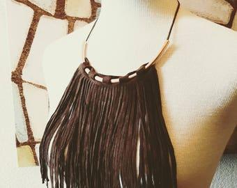 Fringed Brown Leather Boho Bib Necklace