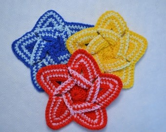 Crochet Pot Holder (Hot Pad) - Star (Red, Blue, and Yellow)