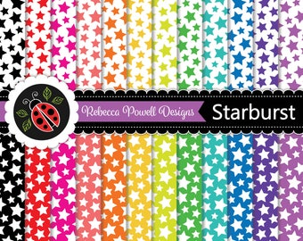 Stars Confetti Pattern Rainbow Colours & White Digital Paper Set-Scrapbooking, Craft Use, Digital Backgrounds-Personal and Commercial Use