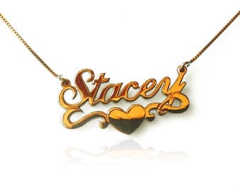 14k or collier personnalisé collier avec nom collier enfant collier garçon collier prénom collier jeune collier fille Stacey name necklace
