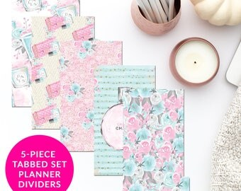 Pastel Feminine Fashion 5-Piece Tabbed Set of Planner Dividers for Personal A5 Planner Dashboard