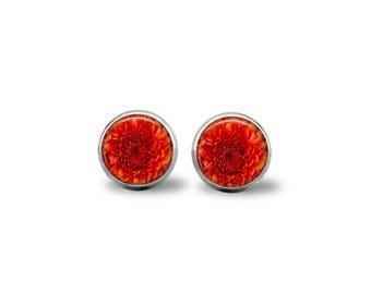 Orange Chrysanthemum Earrings
