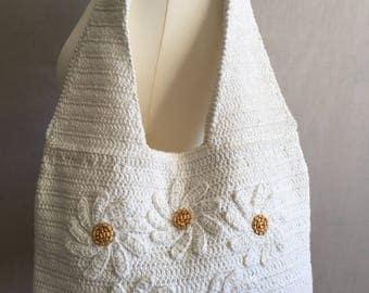White crochet bag, Crochet handbag, Summer knit handbag, Knitted shoulder bag, Cotton handbag, Women's handbag