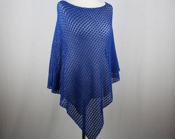 Deep blue lace poncho, Knit summer poncho, Knit poncho, Lightweight poncho, Womens knitted poncho, Cotton poncho