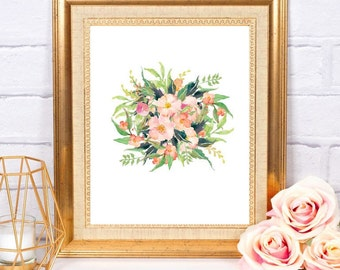 Floral Bouquet Watercolor Printable Digital Instant Download Home Office Dorm Little Girl Nursery Wedding  Floral Decor Gallery Wall Art