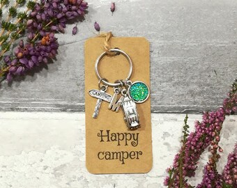 Happy Camper Keychain, Camping Keychain, Travel Keychain, Camper Van Keyring, Camping Keyring, Personalised Keyring Travel Gift Camping Gift