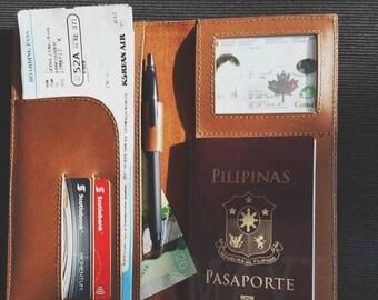 Leather Passport Holder Boarding Pass Holder Travel Wallet