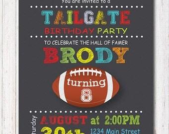 Football Tailgate Invitation, Football Invite, Sports Birthday, Sports Invitation, chalkboard