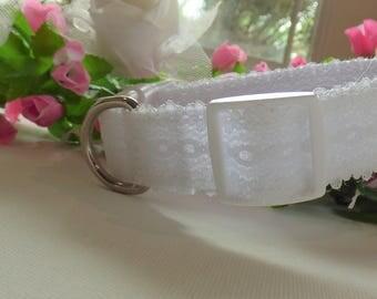 Devine White Lace Wedding Dog Collar